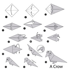 step instructions how to make origami a crow vector image vector image