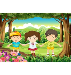 Three kids at the forest vector image vector image
