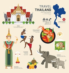 Travel concept thailand landmark flat icons design vector