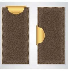 Two brown leather vip vertical banner with a gold vector