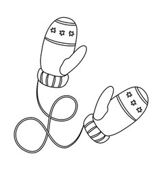 Winter mittens canada single icon in outline vector