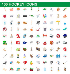 100 hockey icons set cartoon style vector image vector image
