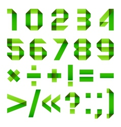 Font folded from green paper - Arabic numerals vector image