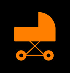 Pram sign orange icon on black vector