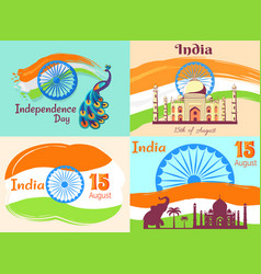 15 august independence day in india posters set vector