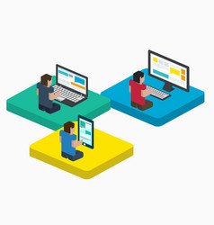 People work on digital devices in web design vector
