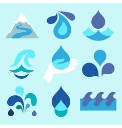 Water drop icons and design elements vector image