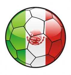 Flag of mexico on soccer ball vector