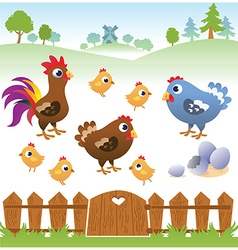 Cute cartoon hen rooster and chicken with landscap vector