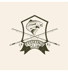 Grunge fishing club crest with trout vector