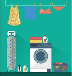 Laundry washing room vector