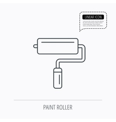 Paint roller icon paintbrush tool sign vector