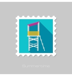 Lifeguard tower flat stamp with long shadow vector