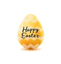 Happy easter poster realistic yellow egg with vector