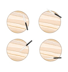 Round empty wooden cutting boards with knives vector