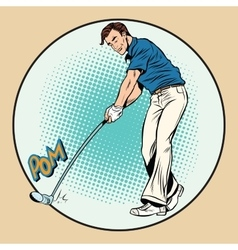 Golf player has a stick in the ball vector