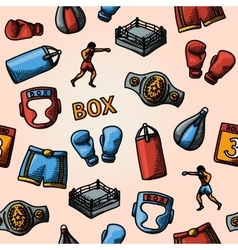 Boxing hand drawn color pattern - gloves shorts vector image vector image