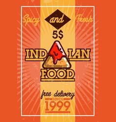 Color vintage indian food banner vector