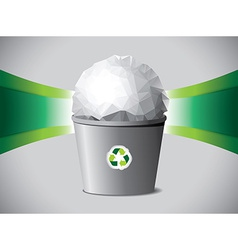 Crumpled paper ball in recycle bin vector image