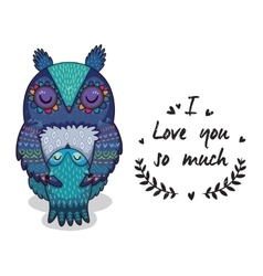 Cute owls with text i love you so vector