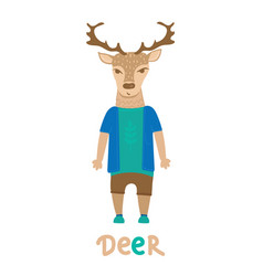 Deer hipster with dressed up in blue t-shirt art vector