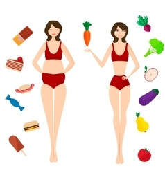 Diet - proper nutrition Selecting slim or fat vector image