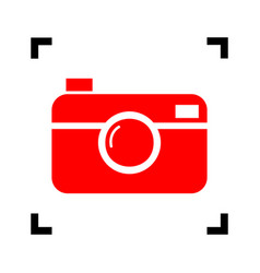Digital photo camera sign red icon inside vector