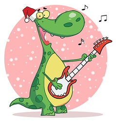 Dinosaur guitar cartoon vector image vector image