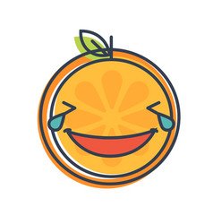 Emoji - laughing with tears orange smile isolated vector