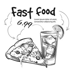 fast food snack isolated on white - hand drawn vector image