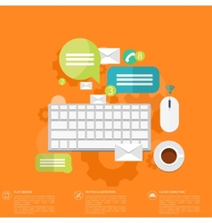 Flat keyboard icon contact social network vector