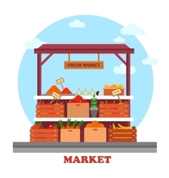Food counter or stall at market with groceries vector