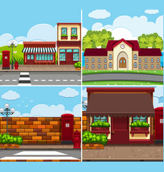 Four background scenes with buildings and roads vector