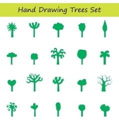 hand draw trees set vector image vector image