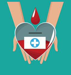 Hand holding glass heart blood drop cross vector
