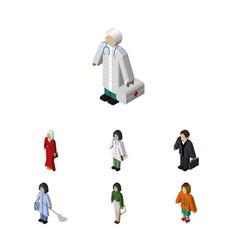 Isometric person set of lady female medic and vector