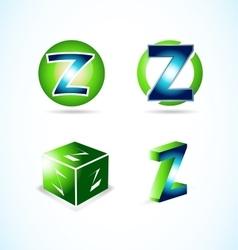 Letter Z green blue logo vector image vector image