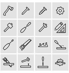 line carpentry icon set vector image vector image