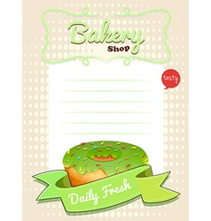 Line paper design with green donut vector