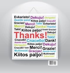 Many thanks in differenr languages on board vector image vector image