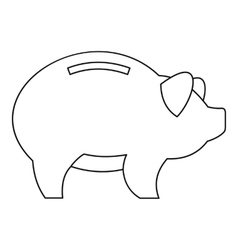 Piggy icon outline style vector image