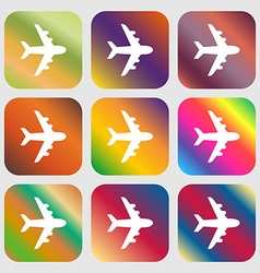 Plane icon sign Nine buttons with bright gradients vector image
