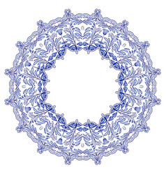 Round floral frame in the style of ethnic mandala vector