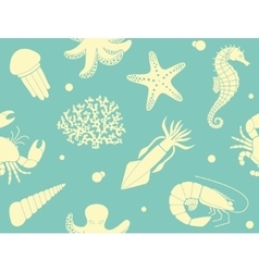 Seamless background with sea life vector image