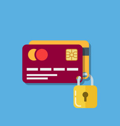 Security of bank cards two debit cards secured vector