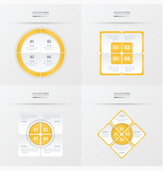 Set of presentation template yellow color vector