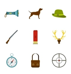 Shooting at animals icons set flat style vector