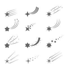shooting star icons vector image vector image