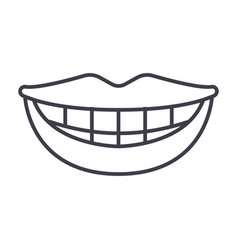 smile teeth mouth line icon sign vector image