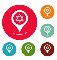 Synagogue map pointer icons circle set vector